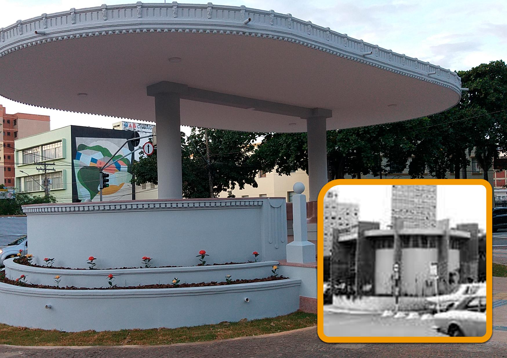 Coreto de Goiânia atualmente e no detalhe, imagem dele nos anos 90